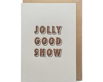 Congratulations card, congratulations card, letterpress, handmade - Jolly good show
