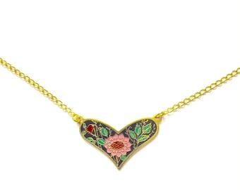 Floral Heart Necklace, Vintage Enamel Heart Necklace, Floral Necklace, Black Floral Heart Necklace