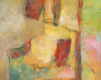 Original Abstract Acrylic Painting on Cradled Board | Seated