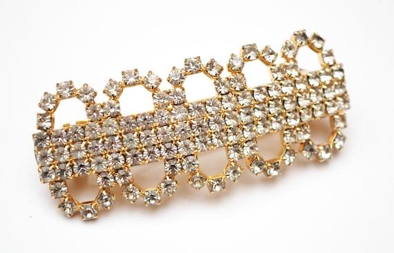Rhinestone Barrette Hair clip - Signed Made in France - Clear crystal - gold - Wedding Bride