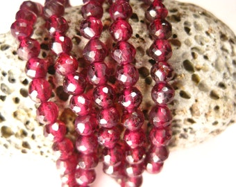 FULL Strand AAA Red Garnet 3-4 mm Faceted ROUNDS, 13 Inches. High Quality. January Birthstone. Wholesale