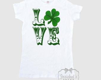 Irish LOVE Shirt  - Women's Irish T Shirt  - St. Patrick's Day Shirt - Shamrock Love SHirt Ladies - Misses Irish Adult Size S M L Xl 2Xl