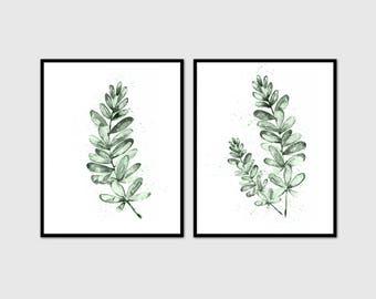 Eucalyptus Print set 2 Botanical Waretcolor Art, Green Leaves Decor, Botanical Poster, Watercolor Art Print, Leaves Wall Art, Tropical Print
