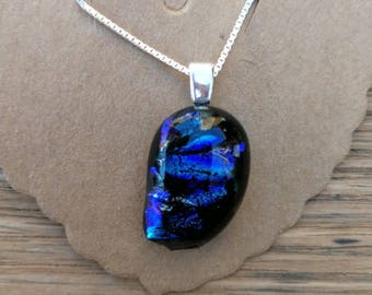 Midnight Ocean Blue and Purple Dichroic Glass, Sterling Silver Pendant on a sterling silver chain.
