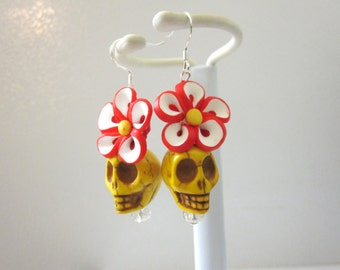 Yellow Day Of The Dead Earrings Sugar Skull Jewelry Red White Flower