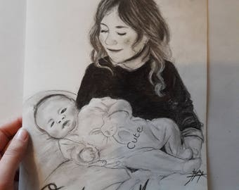 Child portrait pencil drawing