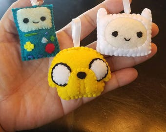 Adventure Time Finn, Jake and Bmo mini plushies