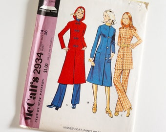HTF Vintage 1970s Womens Size 14 Coat, Pants or Pantsuit McCalls Sewing Pattern 2934 FACTORY Folds / b36 w27