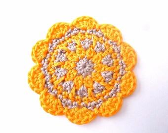 Applied flower Orange and Beige crochet cotton
