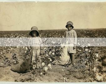 Printable Instant Download Art - Children Working in Cotton Fields - Vintage Antique Photography - Paper Crafts Altered Art Scrapbooking
