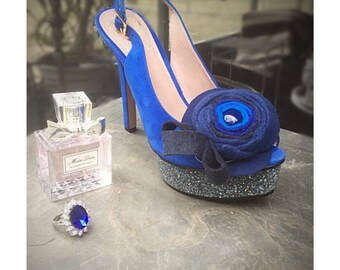 Something Blue Swirl Rosette Shoe Clips / Hair Pins. CUSTOM made colors & combinations. Summer Party Festivity Shoe Clips. Bridal Bridesmaid