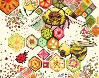 Pour l'impression d'Art abeilles 8.5x11