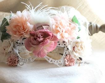 masquerade masks - Photography prop - flower mask - rhinestone mask - Party mask - bridal masquerade mask - costume eye mask - Crystal mask