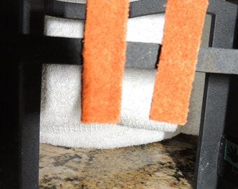 Orange Leather rectangular Earrings