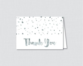 Printable White and Gray Bridal Shower Thank You Card - White and Silver Faux Foil Bridal Shower Thank You Card - Bridal Shower Thank 0010-S