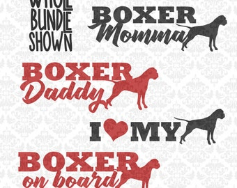 Boxer Dog Breed Momma Daddy I Love My On Board Bundle SVG DXF Ai Eps PNG Scalable Vector Instant Download Commercial Cut Cricut Silhouette