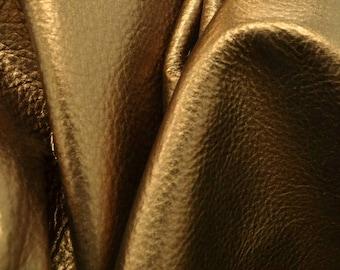 """MGM Grand Bronze Metallic """"Vegas"""" Leather Cow Hide 8"""" x 10"""" Pre-cut  2 1/2-3 ounces TA-60052 (Sec. 8,Shelf 4,A)"""