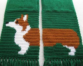 Corgi Dog Scarf.  Emerald green, crochet scarf  with Welsh corgi dogs. Knit dog scarf. Scarves with Pembroke welsh corgis. Corgi gift