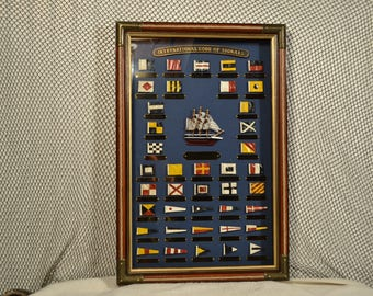 Nautical Shadowbox with the International Code of Ship Flags