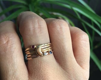 Love you to the moon and back stack, birthstone ring, crescent moon ring,  mothers ring, stacking ring set, gold moon ring, gold ring stack