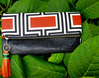 Orange and Black Fold Over Clutch, Orange Geometric Clutch, Handmade Bags, Gift Guide, Fashion Trend, Mod Bag