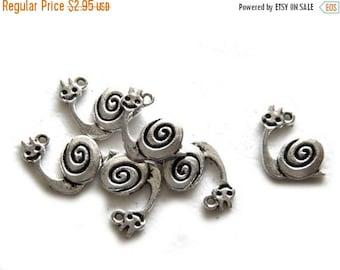 HALF PRICE 6 Silver Snail Charms