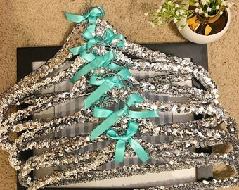 SET OF 6 Adult Silver Sequin Hangers/Wedding Dress Hanger/Bridal Hanger/Bridesmaid Hanger/Dress Hanger/Gifts for Her