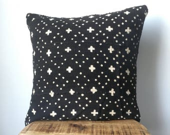 "Amazing Cross and Dot African Mudcloth Hand Stitched Black & White Pillow Cover - 16"" x 16"" - 20"" x 20"" - 18 x 18 - also available"