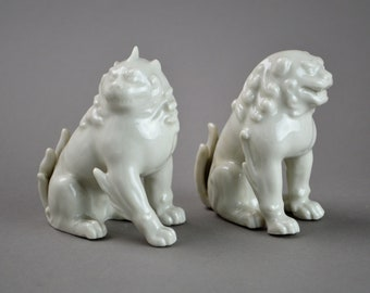 Hokuho Daimaru Blanc de Chine White Porcelain Foo Dogs. Japanese Ceramic Shishi. Guardian Lion Dog.
