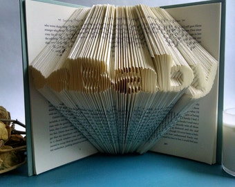 """Decorative Book Featuring the word """"Baby"""" with a Butterfly - Beautiful Folded Book Art Gift for Baby Boy or Girl"""
