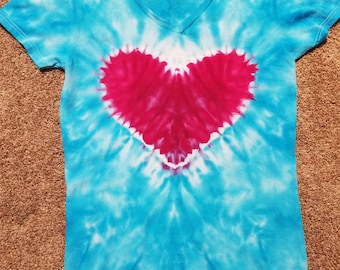 Womens Small V Neck Ice Dyed Tie Dye