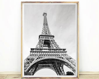 Eiffel Tower Print, Printable Eiffel Tower Wall Art, French Decor, Paris France Wall Art, Home Office decor, Modern Art, Download, #500