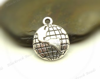 Bulk 18 Globe Charms - Antique Silver Tone Metal - 20x16mm - BM14