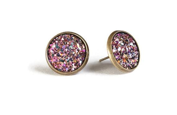 Purple pink gold blue textured stud earrings - Faux Druzy earrings - Post earrings - Nickel free - lead free - cadmium free (829)