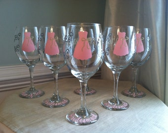 3 Personalized  Bride and Bridesmaid Wine Glasses