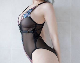 KELLY body suit - sheer see through black mesh lingerie with panels in your choice of printed fabrics, ethical clothing handmade to order
