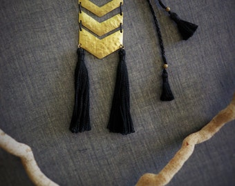 Chevron necklace with tassels, Geometric brass necklace, Hammered, Adjustable, Black, Tassel necklace