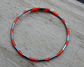 Red and Hematite Gray Beaded Memory Wire Bracelet - Red and Gray Wire Wrapped Bracelet - Christmas Gift