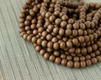 8mm Light Brown Round Wood Beads - Dyed and Waxed - 15 inch strand