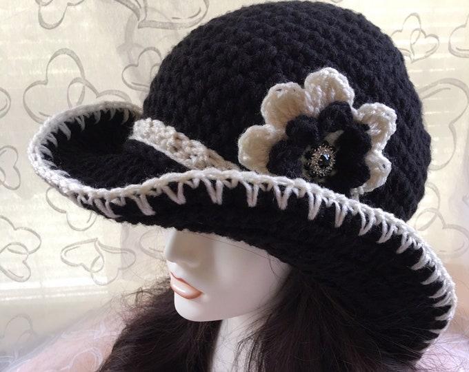 Women's Cowboy Hat- Crocheted Sunhat-Women's accessories -Big Flower -Vintage Hat-Winter Hats-Accessories