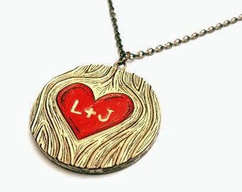Custom Personalized Necklace, Custom Hand Stamped Necklace, Couple Initials Necklace, Woodgrain Red Heart, Bride Gift, Anniversary Gift
