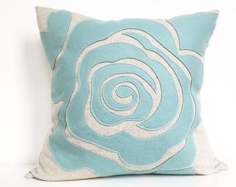 Modern Rose Petal Pillow in Seafoam Turquoise Felt on Oatmeal Cotton/Linen