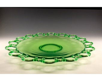 Elegant Vintage 14 inch Clear Green Glass Cake Plate