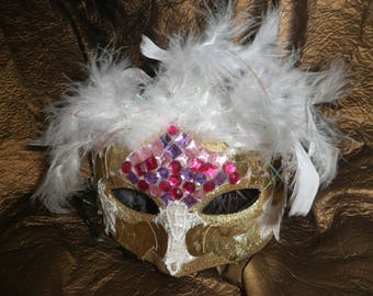 Mask, Venetian Wolf golden feathers and lace