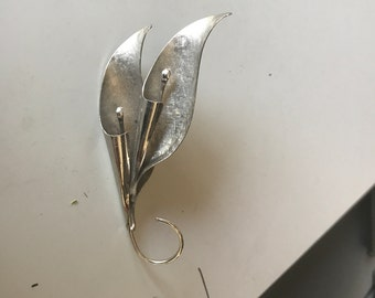 1950s  Sterling Double Calla Lily Brooch