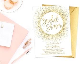 Gold Glitter Bridal Shower Invitation, Bridal Shower Invitation, Gold Bridal Shower Invite, White Gold Bridal Shower Invite