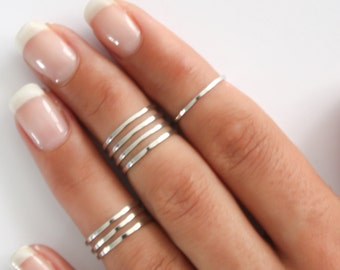8 Above the Knuckle Rings - Sterling Silver stacking rings, Sterling silver knuckle ring set Knuckle Ring Thin silver shiny bands Midi rings