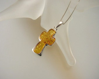 Baltic Amber Cross Pendant Necklace - Sterling Silver Cross - Natural Amber Jewelry