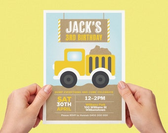 Dump Truck Invite Boys Girls Birthday Party Construction Truck Printable Personalised Digital Invite Dozer Tractor Kraft Yellow Blue