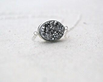 silvermine... silver druzy necklace / silver oval druzy quartz & sterling silver / drusy